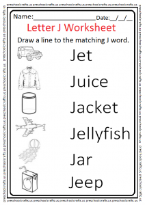 Matching Letter J Worksheet for 1'st Grade