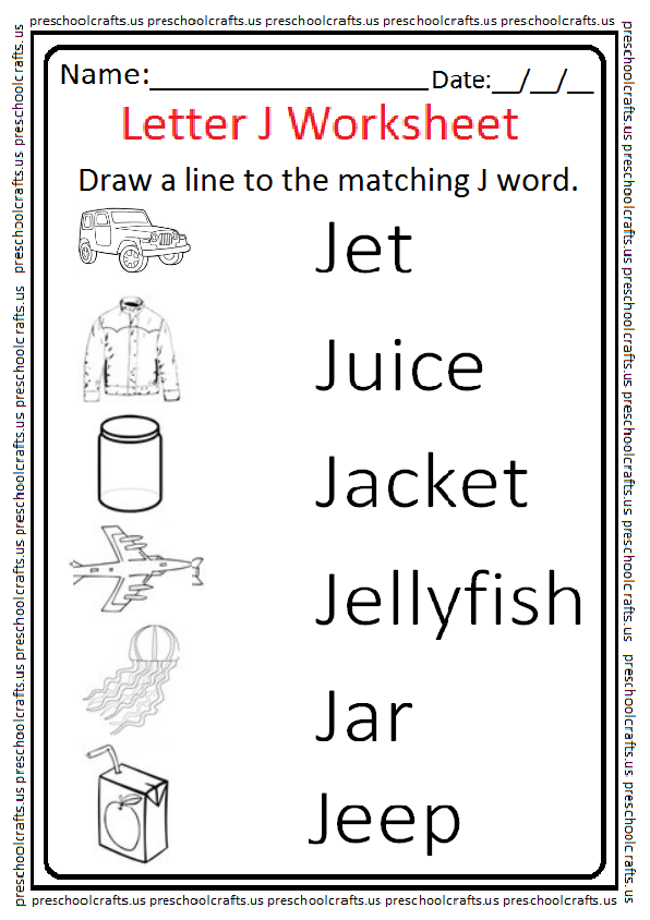 Matching Letter J Worksheet on Letter I Crafts For Preschoolers