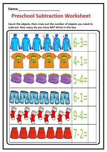Preschool Subtraction Worksheet - Clothes Theme Free Printable