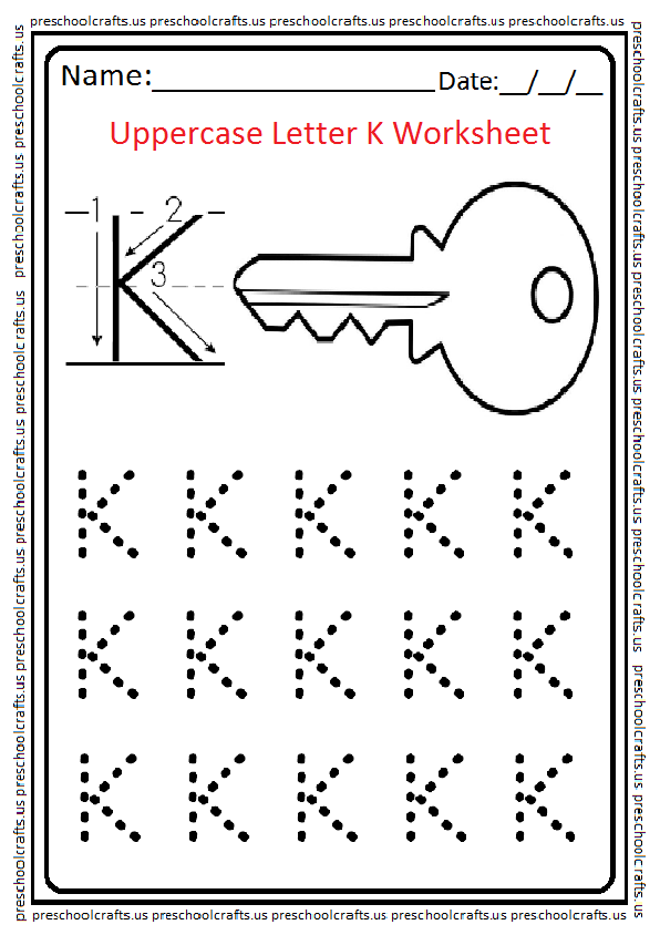 uppercase letter k worksheets free printable preschool and kindergarten. Black Bedroom Furniture Sets. Home Design Ideas