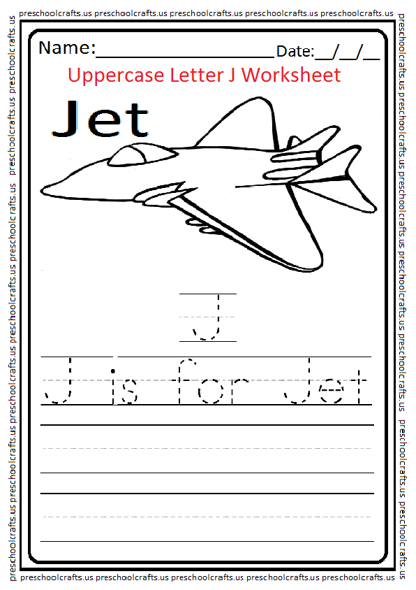 Uppercase Letter J Worksheets Free Printable Preschool And