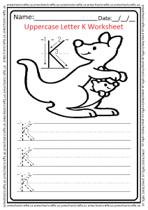 Uppercase Letter K Writing Worksheet for Preschool and Kindergarten Free Printable