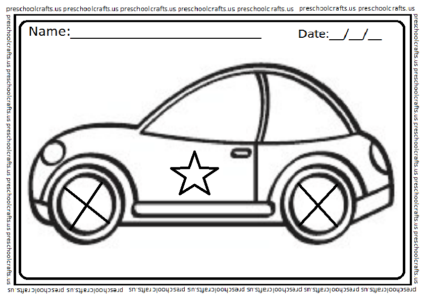 car coloring page for kids preschool and kindergarten. Black Bedroom Furniture Sets. Home Design Ideas