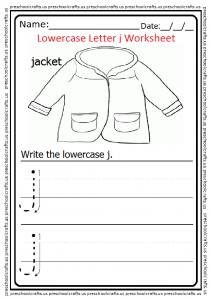 Lowercase Letter J Tracing Worksheet for Preschool and Kindergarten