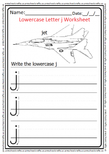 Lowercase Letter J Worksheet Write the j