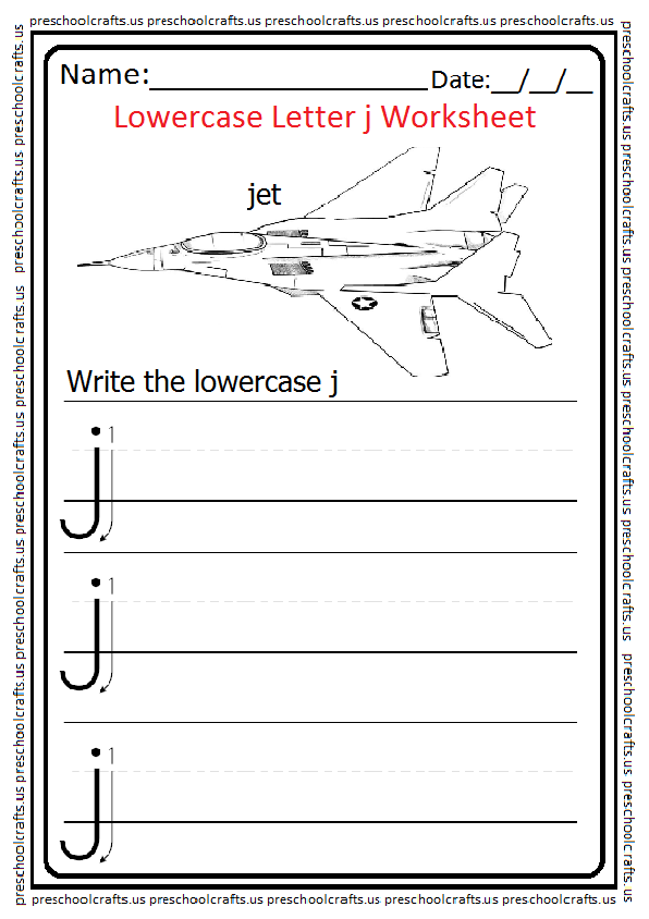 Lowercase Letter J Worksheets Free Printable Preschool And