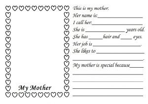 Mothers Day Worksheet free printable