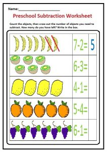 Preschool Subtraction Worksheet - Fruits and Vegetable Themes Free Printable for Kindergarten