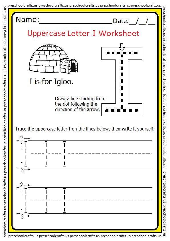 Tracing Uppercase Letter I Worksheet