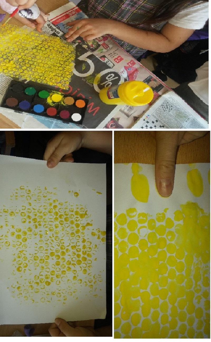 finger print bee and bubble nylon print honeycomb craft idea for kids