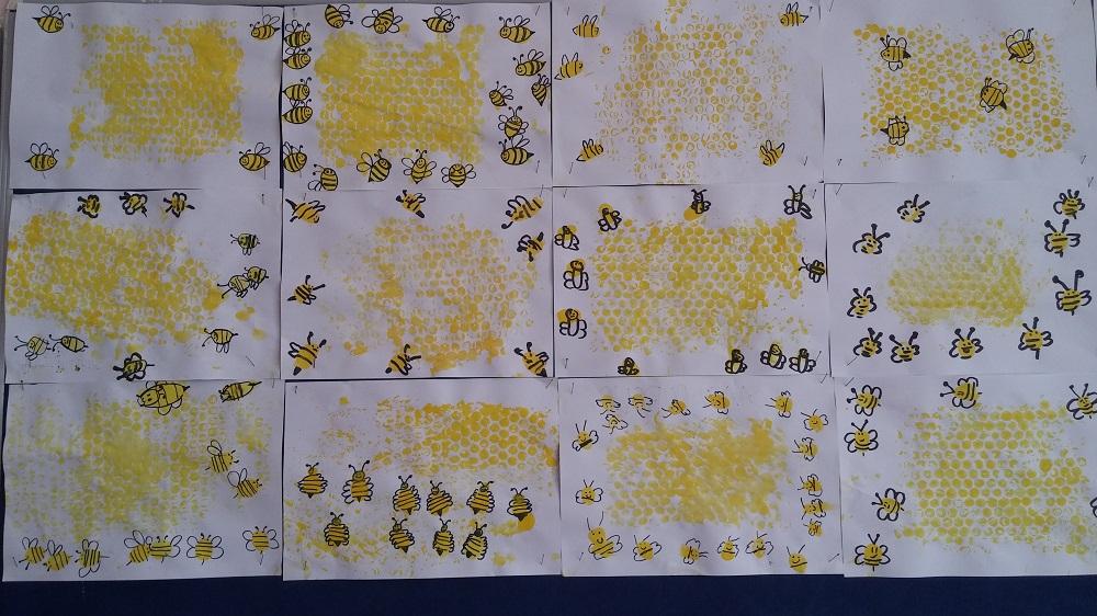 preschool bee and honeycomb bulletin board idea