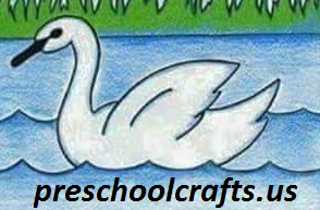 easy drawing swan for kids at school or home