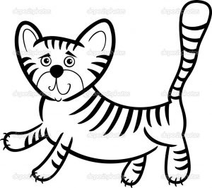 Cartoon Humorous Illustration of Cute Little Tiger for Coloring Book