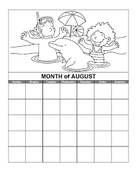 Coloring pages for the month of August