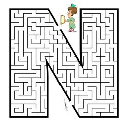 Free-Capital-Letter-N-Maze-Coloring-Page