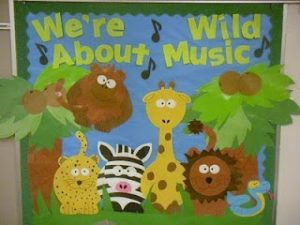 We're Wild About Music Animals Bulletin board