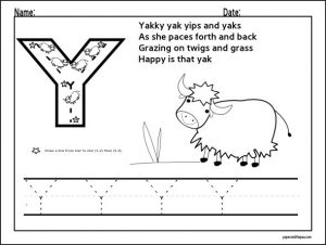 free letter y worksheets for preschool