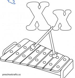 alphabet x coloring page