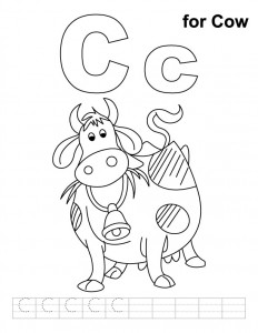 c-for-cow-colouring pages
