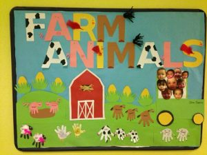 creative farm animals bulletin board