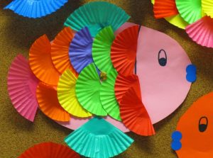 fish paper folding with cup cakes for preschool