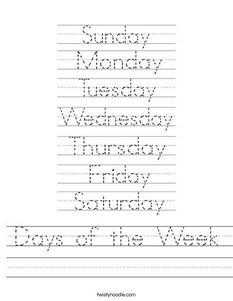 days of the week worksheet for kindergarten - Preschool Crafts