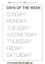 days of the week worksheet for preschool