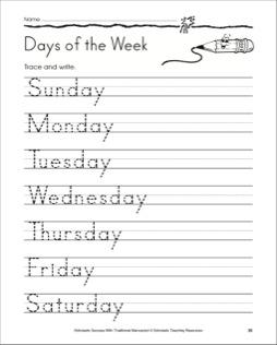 days of the week worksheet - Preschool Crafts