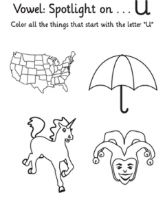 things that start with the letter u letter u worksheets for kindergarten preschool and 25262 | free learning vowels the alphabet letter for kindergarten 240x300