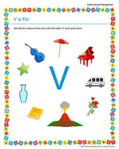 Letter v worksheet for preschool and kindergarten
