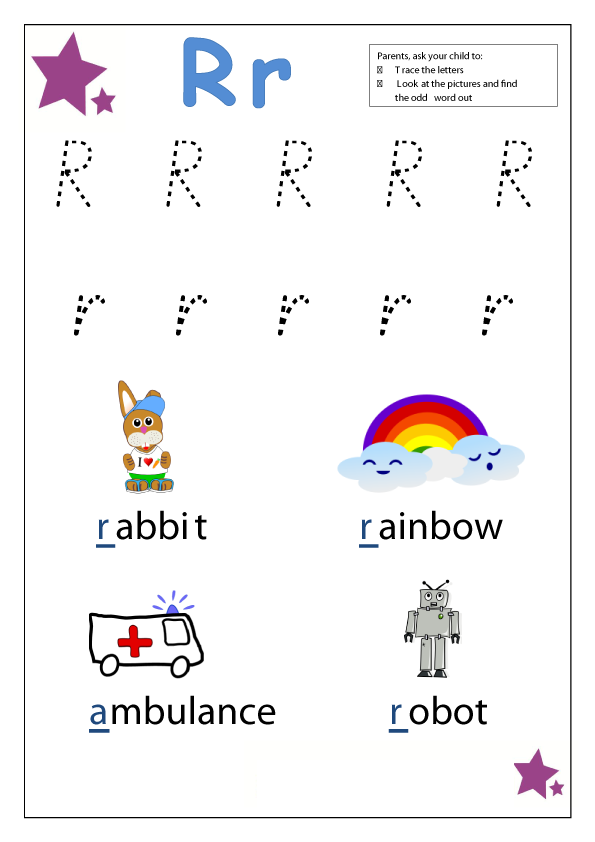 Letter R Worksheets for Kindergarten