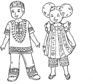 human body coloring pages for african child
