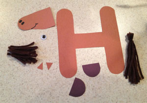 letter h horse craft template material Preschool Crafts