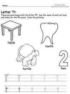 letter t to worksheets for kindergarten