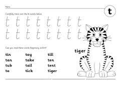 letter t writing practice worksheet