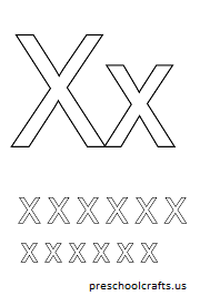 letters x coloring page