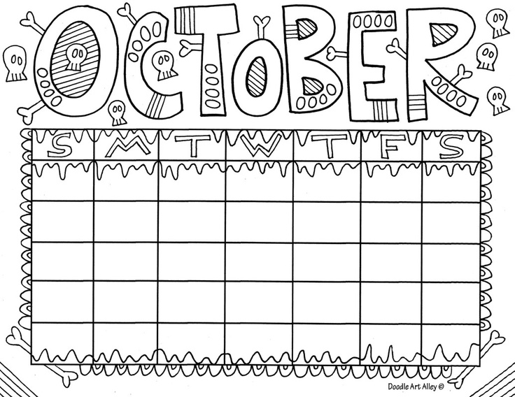 October Calendar Coloring Page | Coloring Pages
