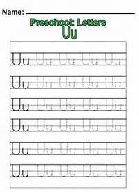 preschool letter u writing worksheets