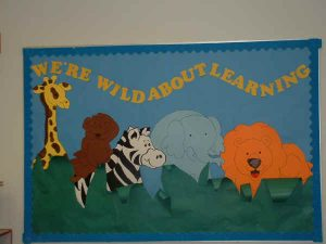 we're wild about learning bulletin board for animals
