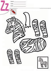 zebra cut paste craft template