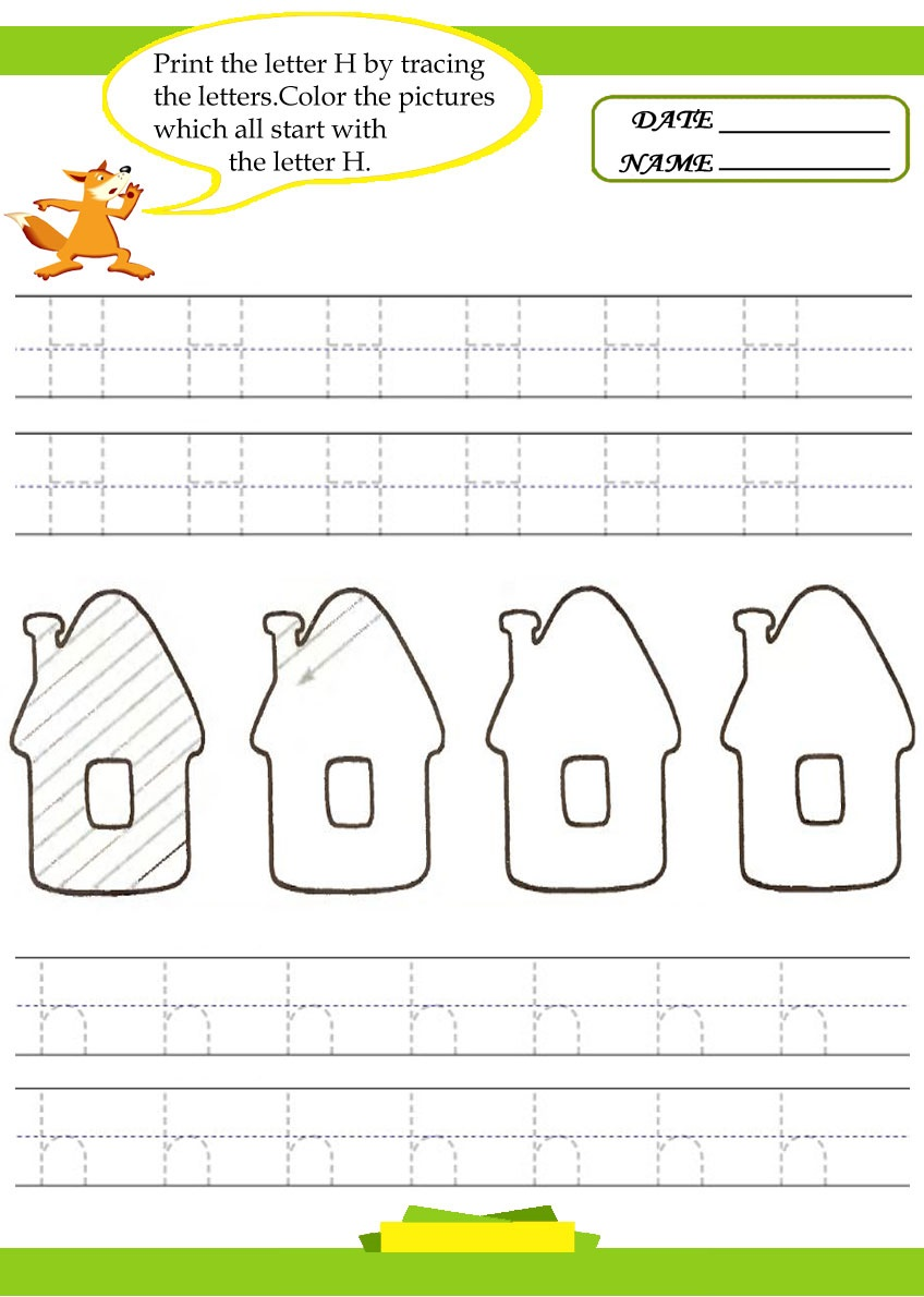 letter h worksheets for preschool preschool and kindergarten. Black Bedroom Furniture Sets. Home Design Ideas