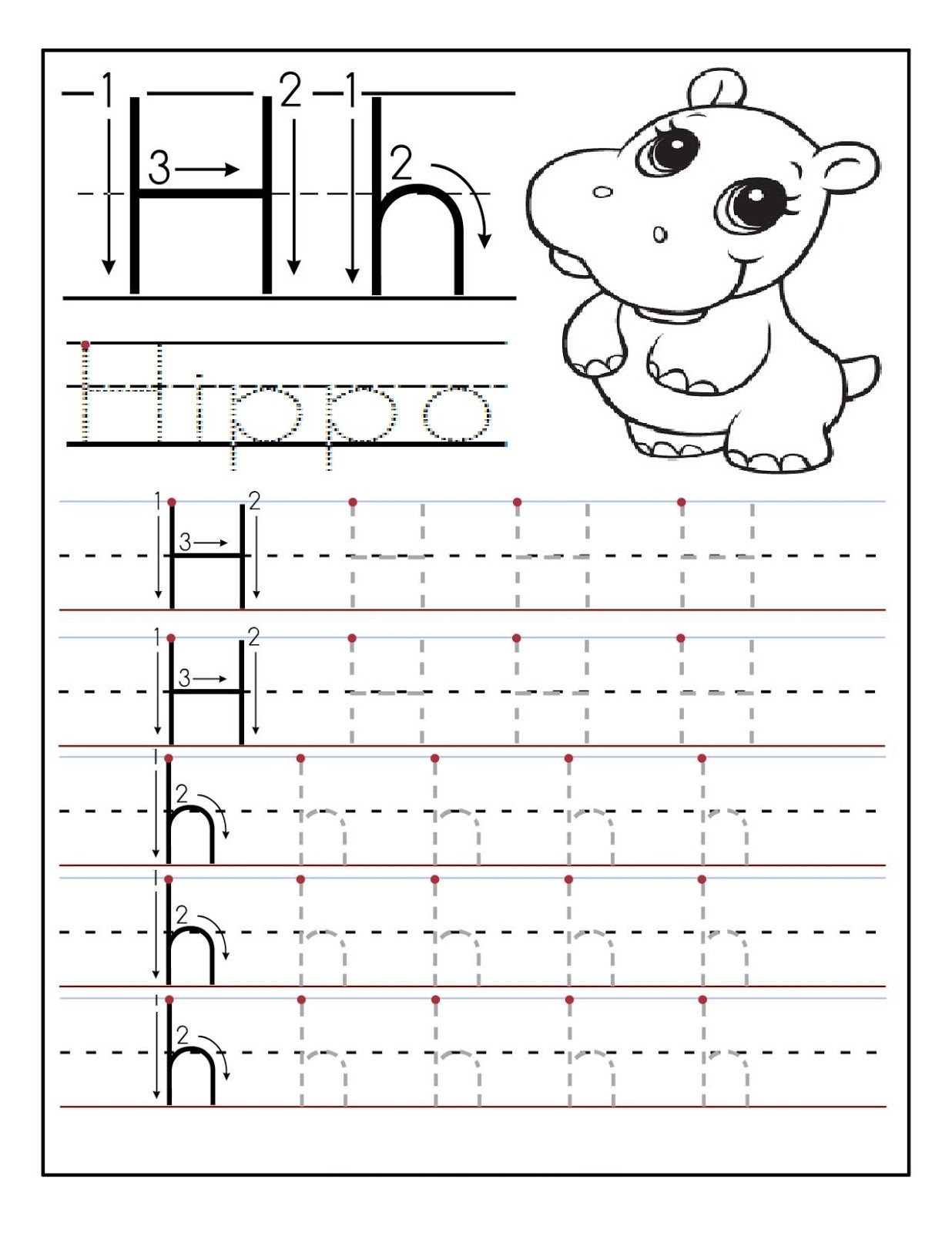 Printable letter H tracing worksheets for preschoolers Preschool