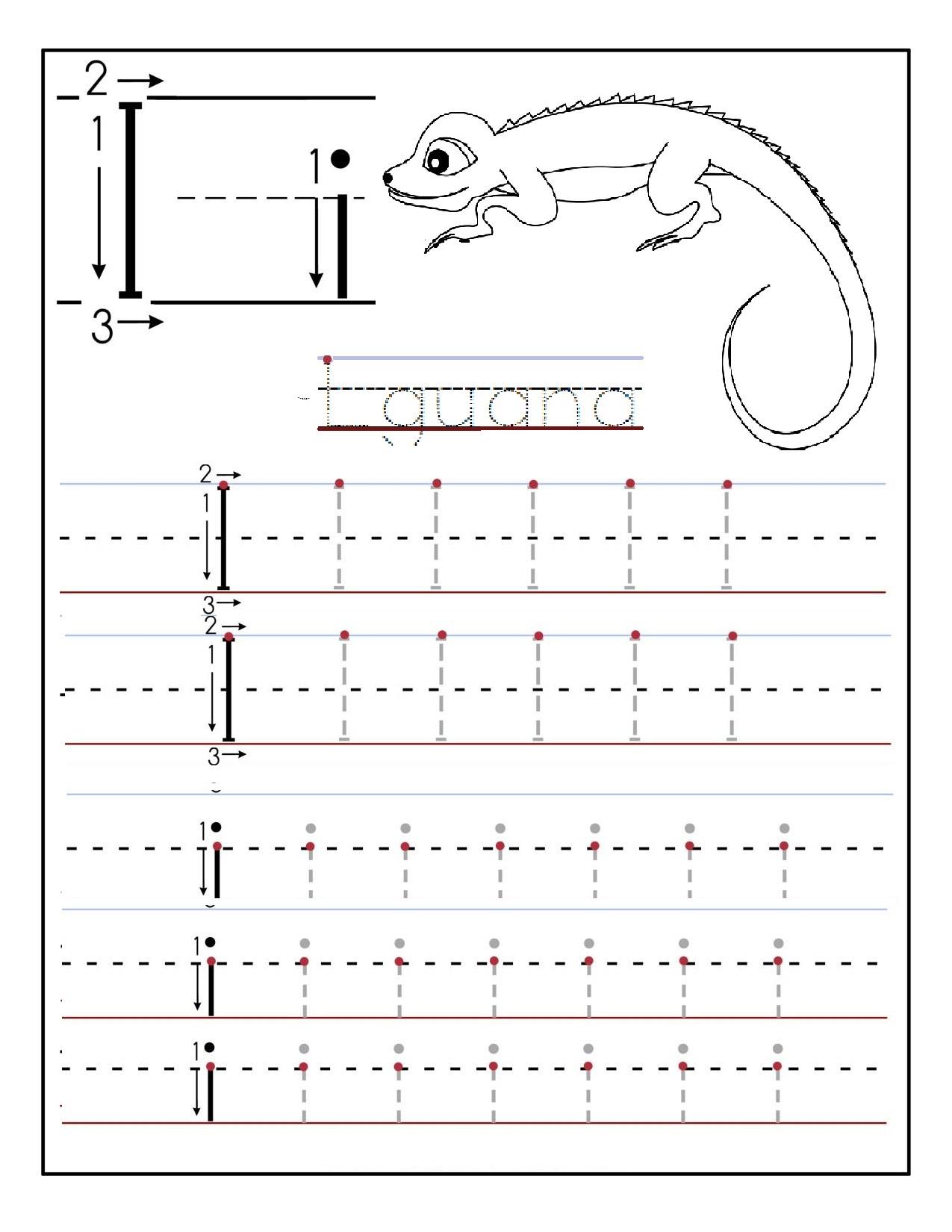 Printable letter I tracing worksheets for preschool Preschool Crafts