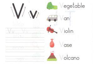 alphabet-capital-and-small-letter-V-v-worksheet-for-kids