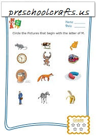 circle picture to begin letter m worksheet