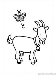 free printable Goat Coloring Pages for primary school