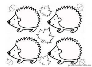 hedgehog coloring pages for kindergarten