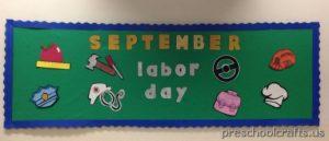 labor day bulletin board idea for preschool