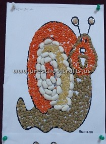 make-snail-using-beans-for-preschool
