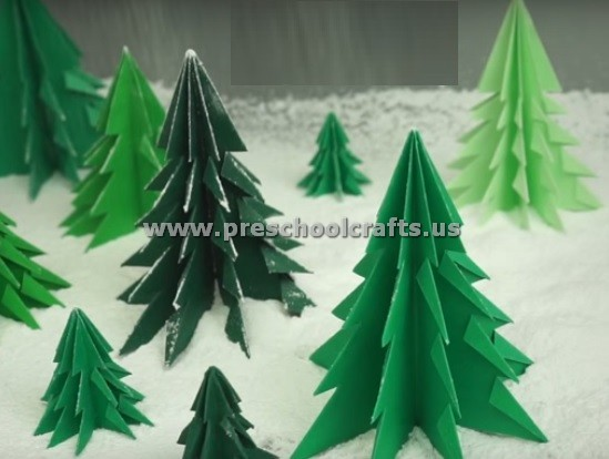 3d Paper Christmas Tree For Kids Preschool And Kindergarten